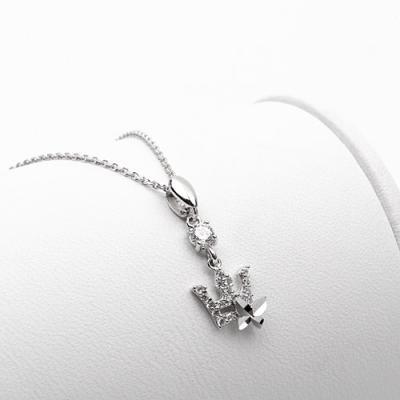 [애슬릿]전체 실버 행운 나비 왕관 큐빅 드롭 목걸이