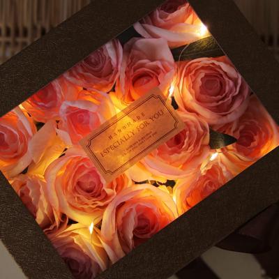 LED 골드 플라워박스 - 실크플라워 로즈 [2color]