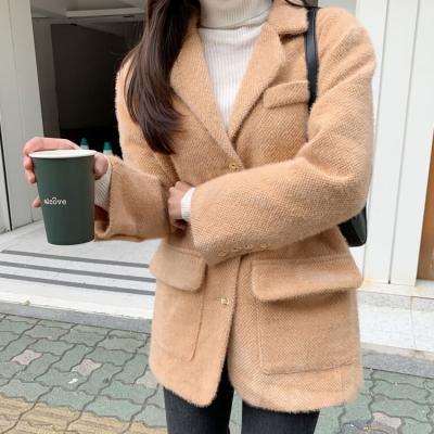 여성 여자 가을 자켓 재킷 이그니 보송 와플하프