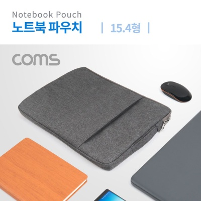 Coms 노트북 파우치 가방 슬림형 그레이 15.4형