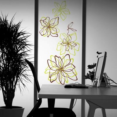 [디자인베이]  라인플라워 (반제품A타입) 그래픽스티커 꽃 포인트 시트지