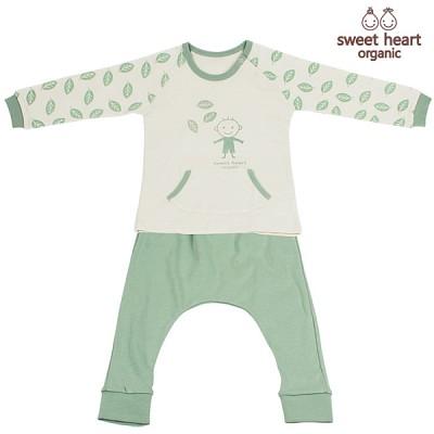 [12개월-36개월용]오가닉 나뭇잎 캐릭터 상하복