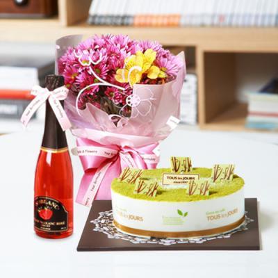 뚜레쥬르 녹차케익2호+데이지+샴페인(꽃배달,케익배달,케익,생일선물)