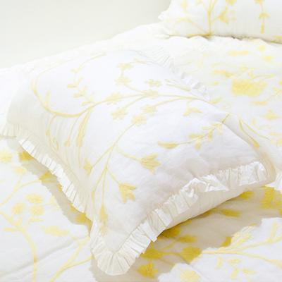 린넨 흰바탕에 노란자수 베개커버