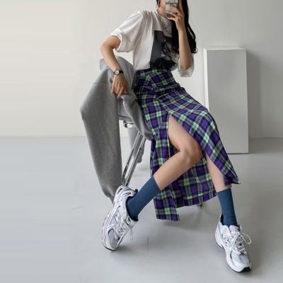 Check Shirring Long Skirt