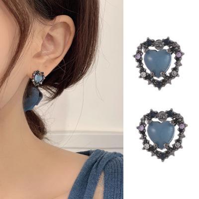 브로하 하트 레이어드 여성 귀걸이 925 silver
