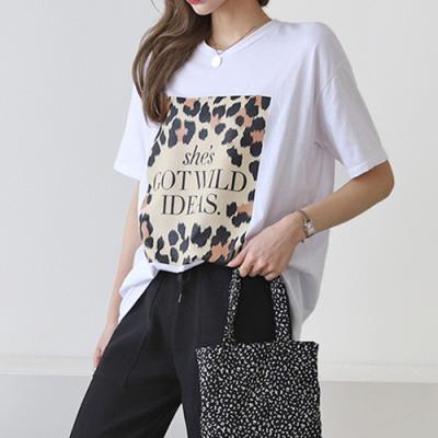 [애슬릿]국내 면100% 호피 프린트 여성 반팔 티셔츠