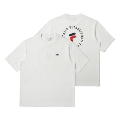 휠라 루즈핏 서클 그래픽 반팔 티셔츠 오프화이트