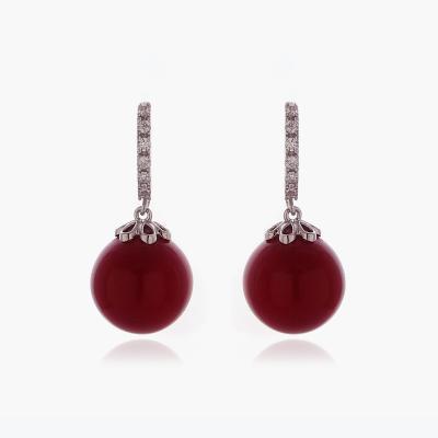 제이로렌 M03107 빨간진주 원터치 큐빅 귀걸이