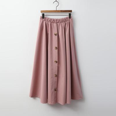 Button Cotton Full Long Skirt