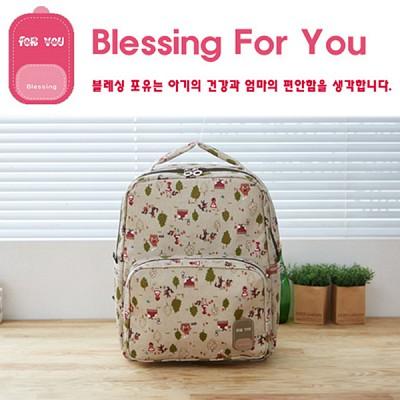 [블레싱포유 ] 보온 보냉 기저귀가방 백팩 - 유니크 Cuty Line