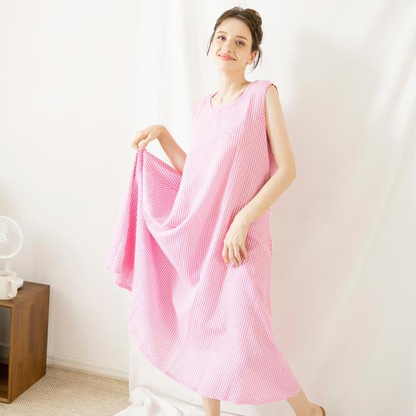 테라우드 여성용 시어서커 민소매 원피스 파자마 잠옷