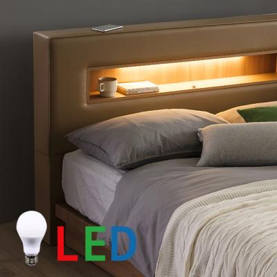 인터데코 가죽 평상형 LED조명 침대 퀸 DW106