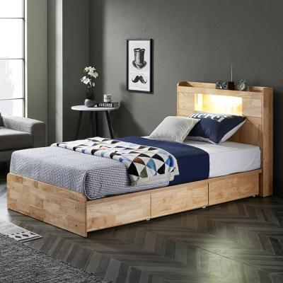 [노하우] 로이 고무나무원목 LED 3서랍 침대 SS