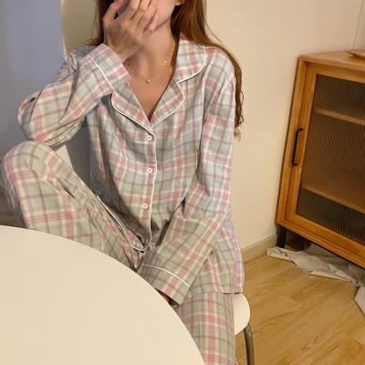 여성 홈웨어 잠옷 세트 파자마 이릭 체크