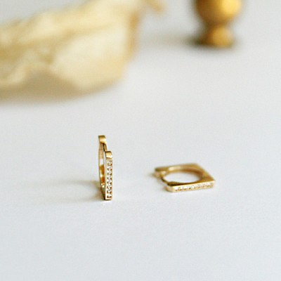 14k gold cubic square ring earring