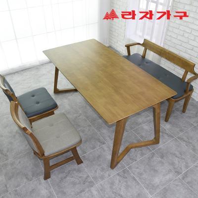 크레 고무나무 원목 4인용 식탁세트 벤치형
