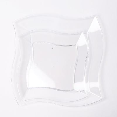 칼라 파티접시 웨이브 19cm -투명(6입)