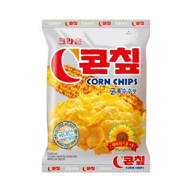 크라운 콘칩 과자 (중) 70g 콘칲