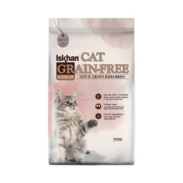 이즈칸 캣 그레인프리 중성화체중관리5kg 고양이 사료