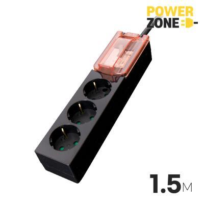 [파워존] 과부하차단 고용량멀티탭 3구 1.5M 블랙