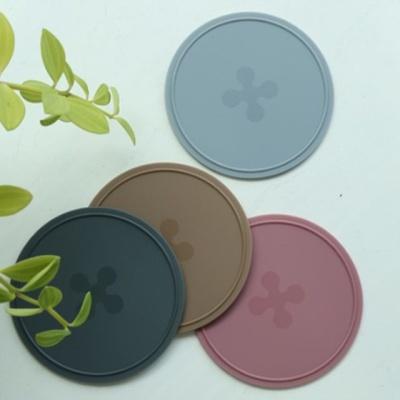 파스텔 컵받침 4P세트 실리콘 코스터 티타임 카페소품