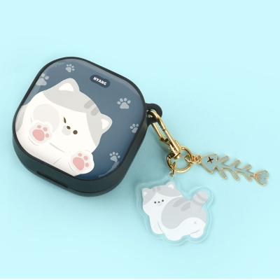 고양이 하드 갤럭시 버즈라이브 케이스+냥이 키링