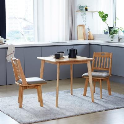 [리비니아]캔버 노블회전의자 2인 원목식탁세트