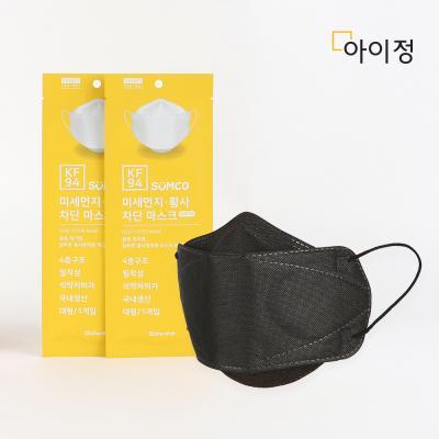 아이정 KF94 미세먼지 황사 차단 마스크 블랙 20매