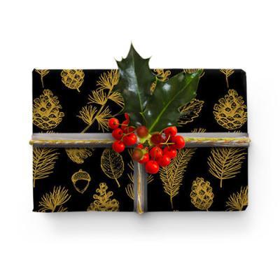 크리스마스 어두운밤 솔방울 포장지 (2장)