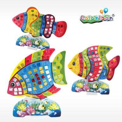 [컬러룬] 홀로그램 스티커 붙이기 물고기 3종