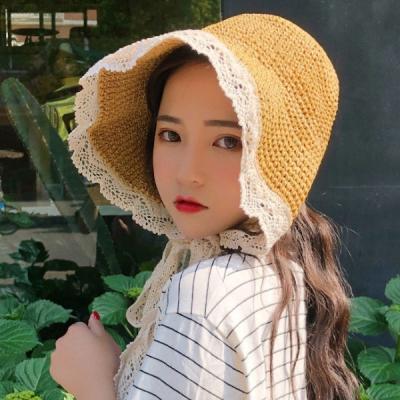 프릴리 레이스 와이어햇 여성 밀짚모자 여름모자