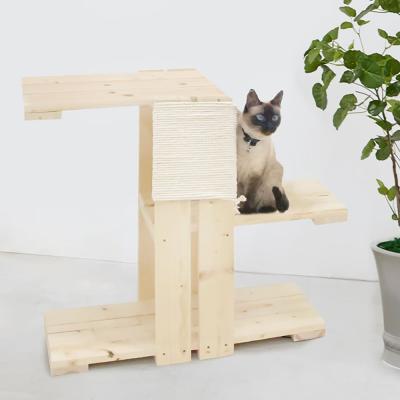 3단 원목 캣타워 DIY 면줄 장난감 고양이 타워 선반
