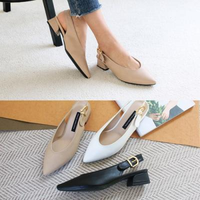 [애슬릿]여성 플랫 스틸레토 슬링백 샌들 3cm