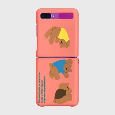 Rolling bear-coral pink(Z플립-하드)