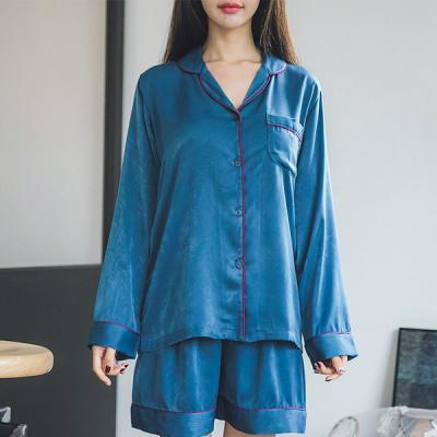 [쿠비카]파이핑 샤무즈 3부 투피스 여성잠옷 W220