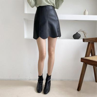 Faux Leather Tulip Mini Skirt