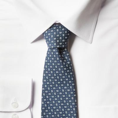 남자 페이즐리 블루 면 넥타이