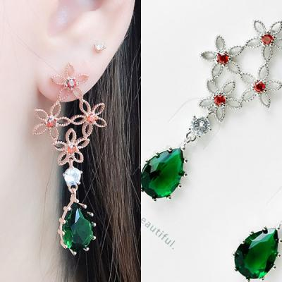 [애슬릿]제니스 플라워 그린 큐빅 드롭 귀걸이