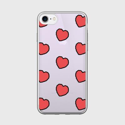 red heart fluffy [미러 폰케이스]