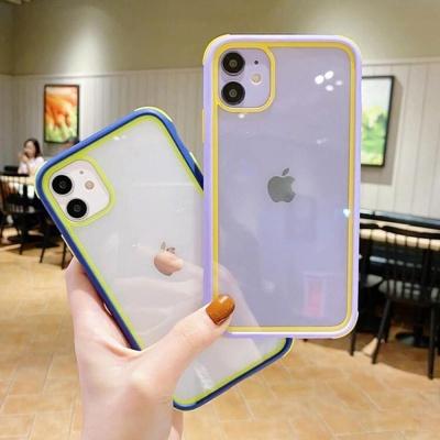 아이폰11 프로 맥스/컬러 테두리 투명 실리콘 케이스