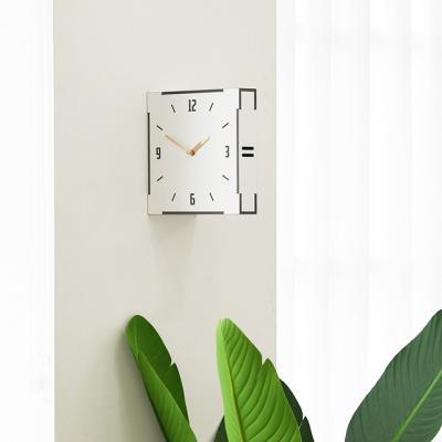 모던 우드 양면시계 화이트