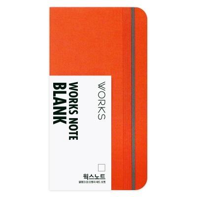 [무료 이니셜각인]웍스 노트 블랭크 03 오렌지 레드 포켓