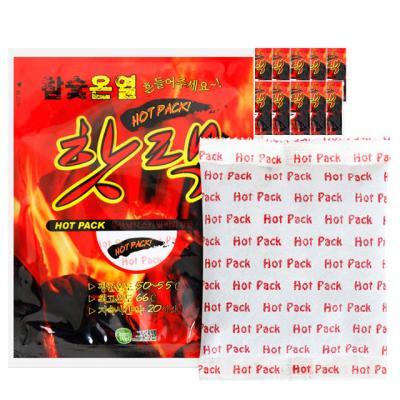 참숯 온열 핫팩 100g 100개(10set)