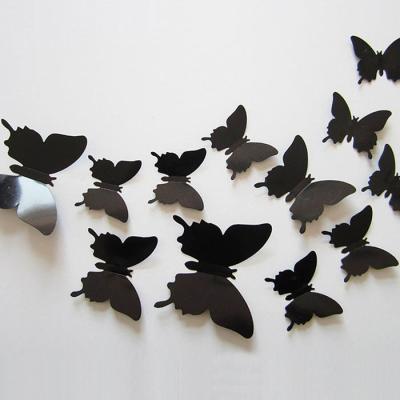 PVC 3D 나비 포인트 스티커 light black 12P