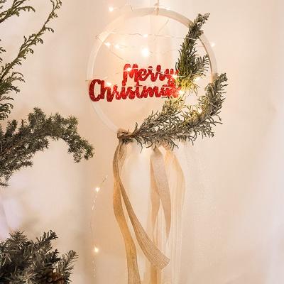 메리 크리스마스 리본 리스