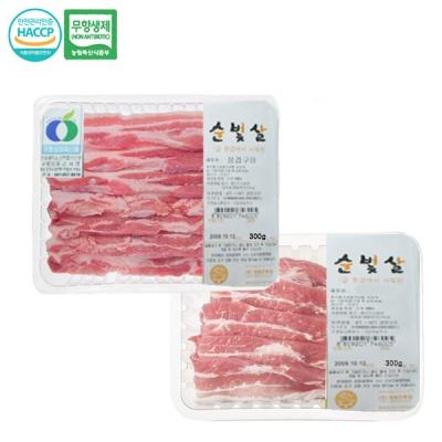 [명품포크] 무항생제 삼겹살 300g+항정살300g(냉장)
