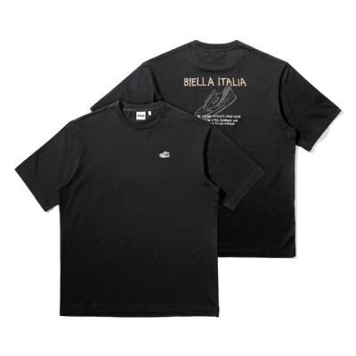 휠라 루즈핏 슈즈 그래픽 반팔 티셔츠 블랙