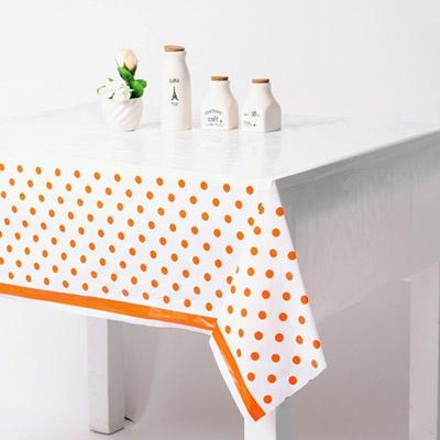 라인도트 비닐 테이블보 - 오렌지(1매)
