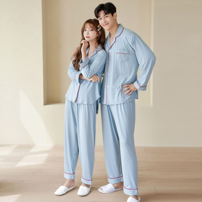 [쿠비카]레드 파이핑 투피스 커플잠옷 WM264